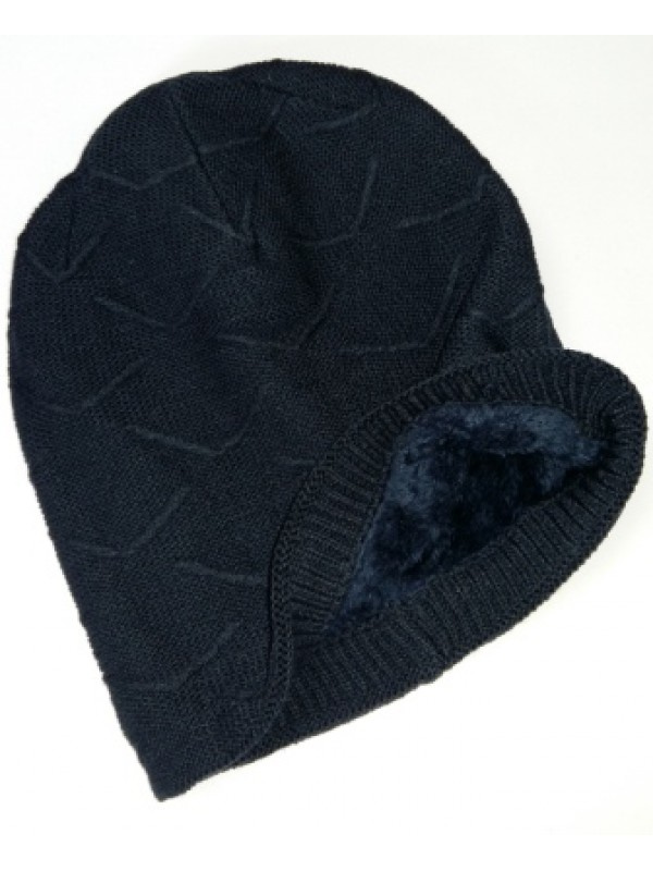 Beanie Courtney, met fleece, navy - chemo muts / alopecia muts (winter)