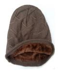 Beanie Courtney, met fleece, walnoot - (winter) chemo muts / alopecia muts