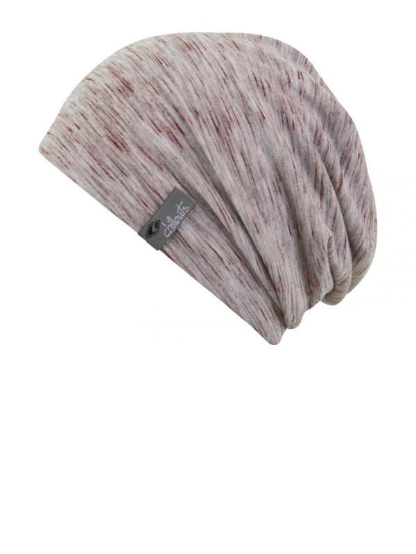 Beanie Leeds grijs met bordeaux - chemo mutsje / alopecia mutsje