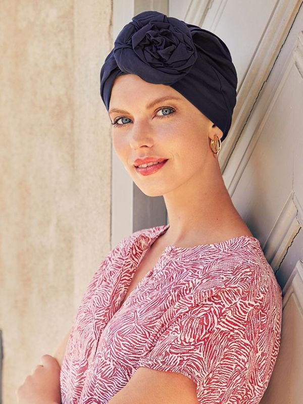 Turban Zuri Navy - mutsje voor chemo / alopecia muts
