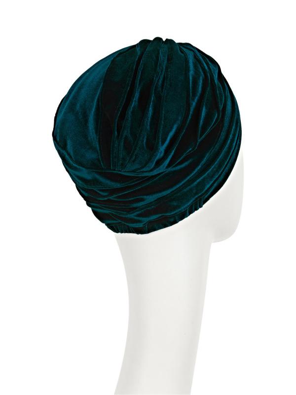 Turban Pearl Boho Spirit - Velvet Green - chemo mutsje velvet / alopecia hoofdbedekking