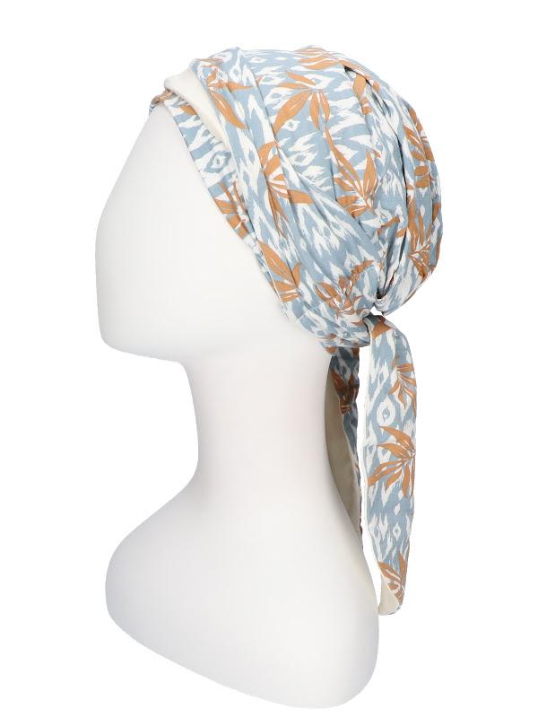 Chemo mutsjes Christine - Sjaalmutsje Beatrice - Ikat Blues - voorgevormd chemo sjaaltje hoofddoekje