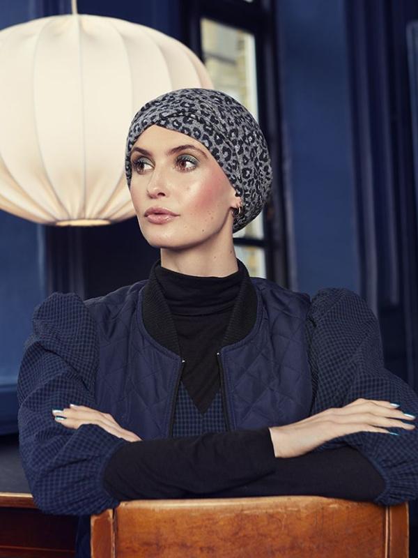 Turban Nelly V Cosy Leopard - chemo muts / alopecia hoofdbedekking
