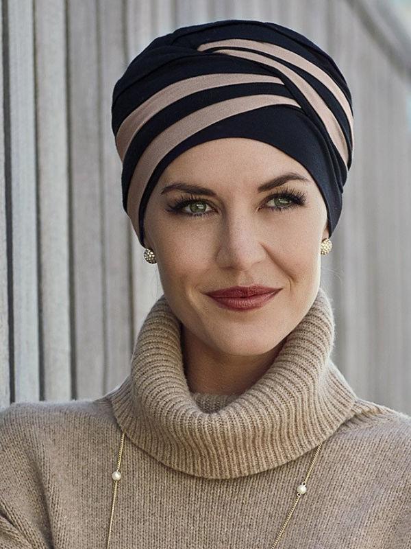 Top Shanti zwart-zand- chemo muts / alopecia hoofdbedekking