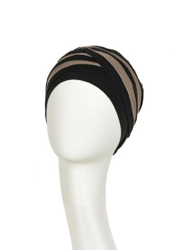 Top Shanti zwart-zand- chemo mutsjes Christine Headwear Nederland