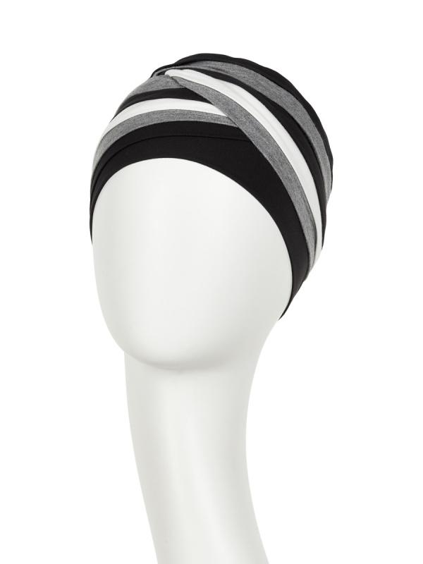 Top Shanti Grijs Zwart Ivoor - chemo mutsje / alopecia hoofdbedekking