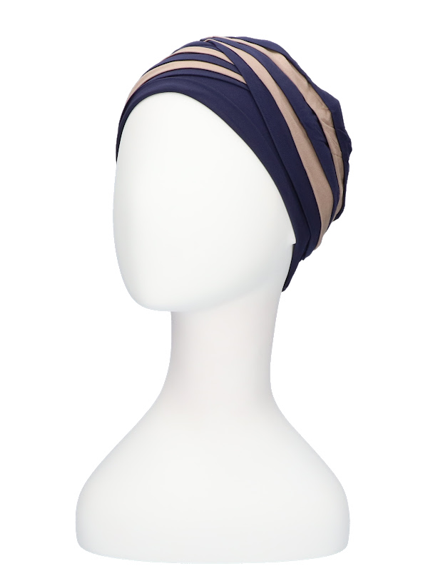 Top Shanti nachtblauw/zand  - chemo mutsje Christine Headwear Nederland
