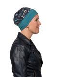 Top Mix Navy Leaves - chemo mutsje / alopecia mutsje