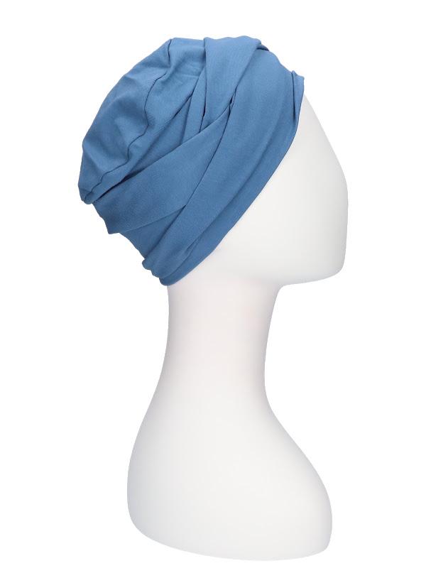 Top PLUS blauw - chemo mutsje / alopecia mutsje - van Mooihoofd