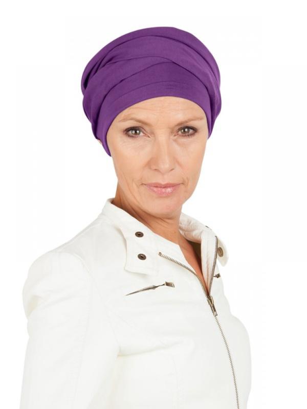 Top PLUS paars - mutsje voor chemo / alopecia - Mooihoofd
