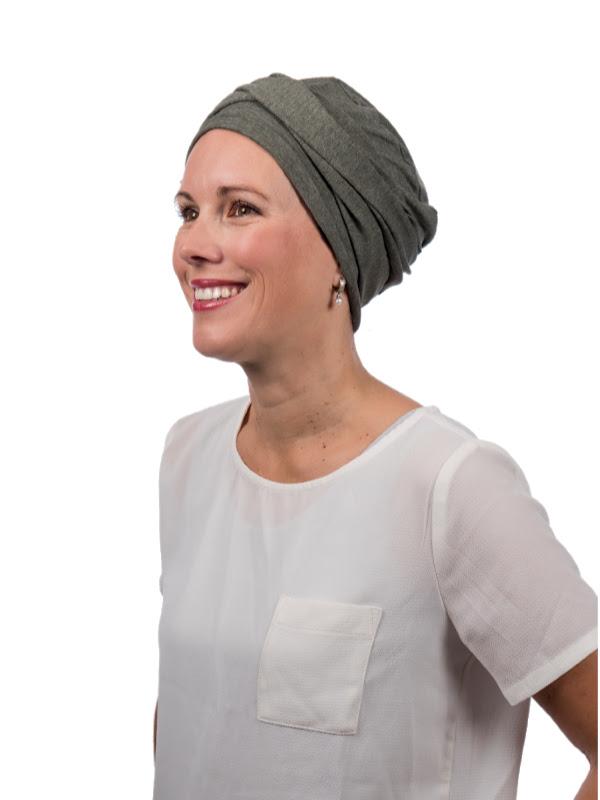 Top PLUS Khaki melee - chemotherapie hoofdbedekking / alopecia mutsje