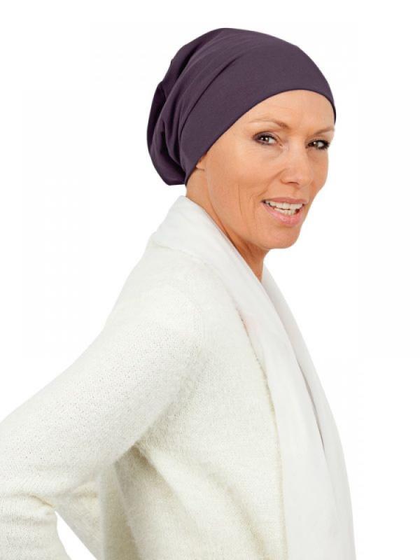 Top Tio aubergine - chemo mutsje / alopecia hoofdbedekking