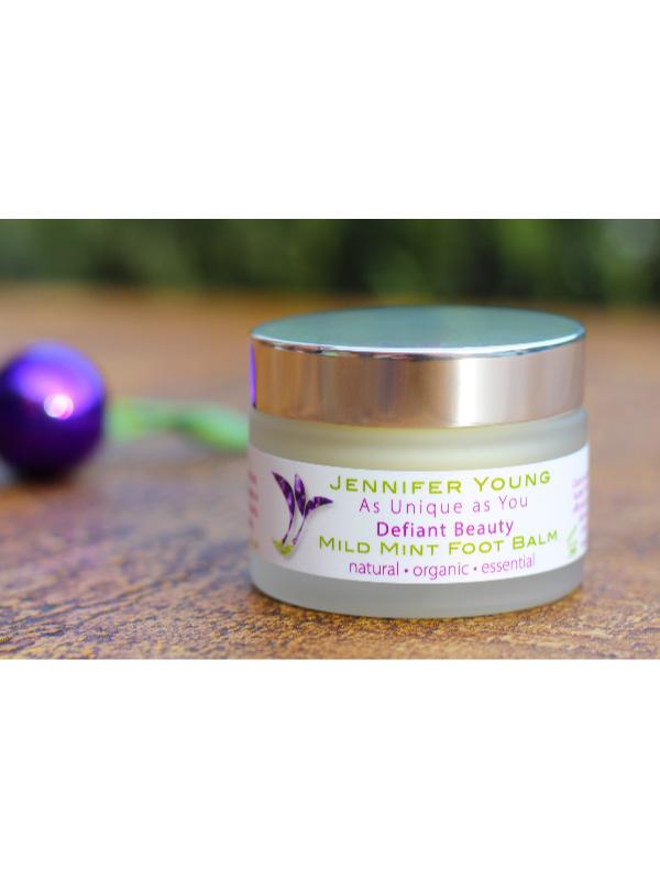 Defiant Beauty Mild Mint Foot balm - verkrijbaar bij Mooihoofd voor chemo mutsjes en cosmetica