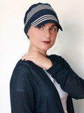 Pet Diane Blauw met witte streep - chemo mutsje / alopecia pet