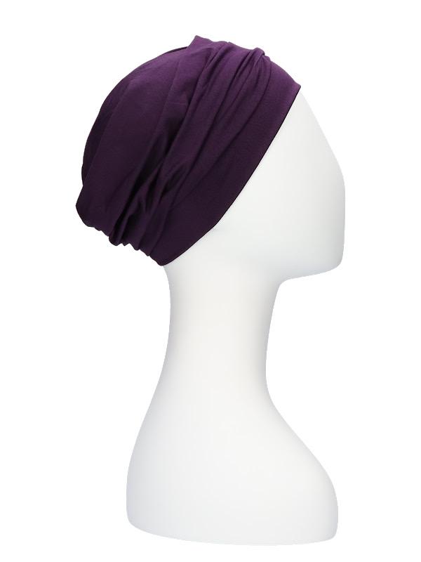 Comfortabel mutsje Iris aubergine - chemo mutsje / alopecia mutsje