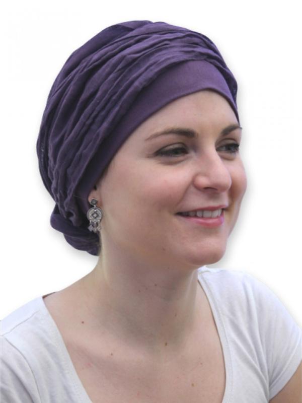 Top Mano paars - chemo mutsje / chemo sjaal