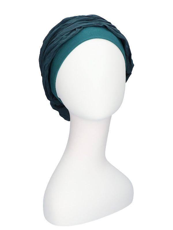 Top mano Petrol - voorgevormde chemo sjaal