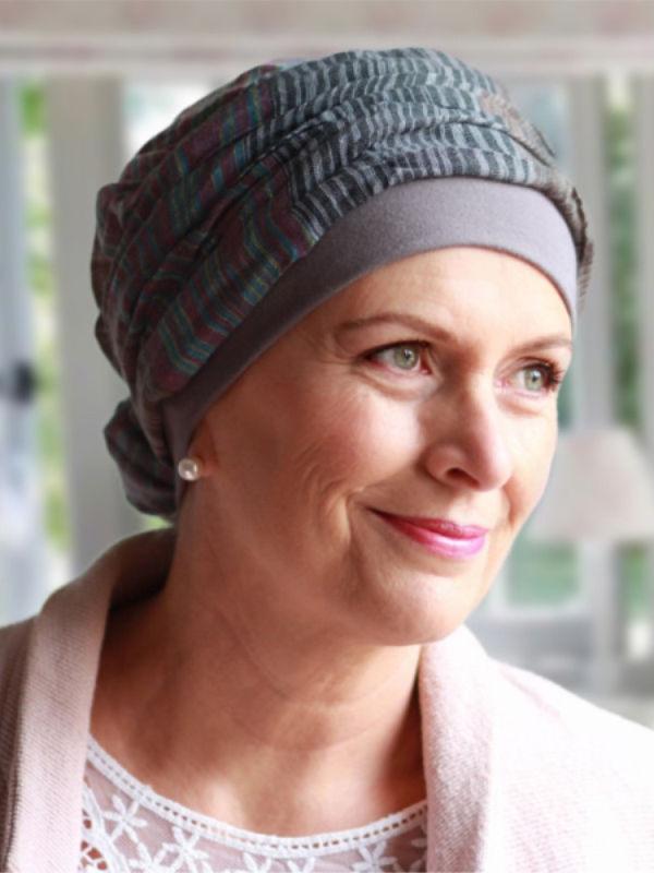 Top Mano print grijs - chemo mutsje / alopecia mutsje
