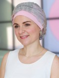 Top Mano print roze - chemo mutsje / alopecia mutsje