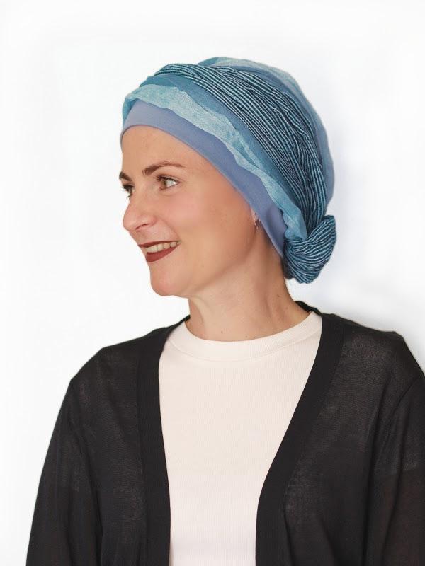 Top Mano Ocean Stripes - chemo mutsje / alopecia mutsje
