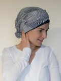 Top Mano navy wit glitter - chemo mutsjes / alopecia mutsje