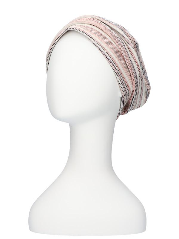 Mutsje Maya roze/rood - chemotherapie mutsje - alopecia hoofdbedekking