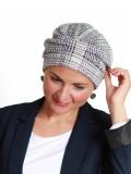 Mutsje Maya wit patroon - mutsje voor chemo / alopecia mutsje