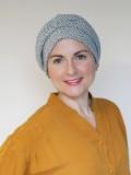Mutsje Maya zwart - wit - chemo mutsje / alopecia hoofdbedekking
