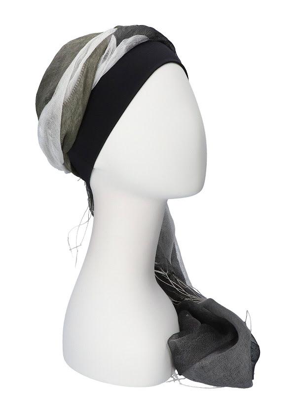 Sjaalmutsje Zwart-Grijs - hoofddoekjes chemo