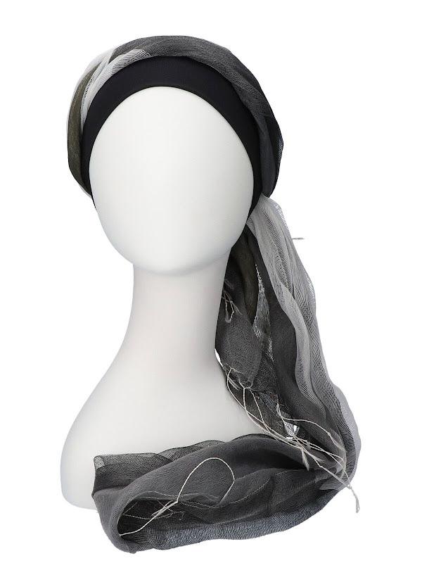 Sjaalmutsje Zwart-Grijs - chemo hoofddoekjes