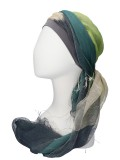 Sjaalmutsje Navy-Lime - hoofddoekjes chemo
