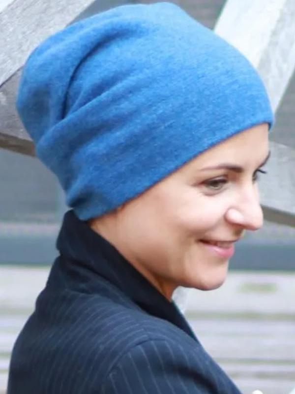 Muts Tili blauw Kashmir - winter chemo muts / alopecia muts