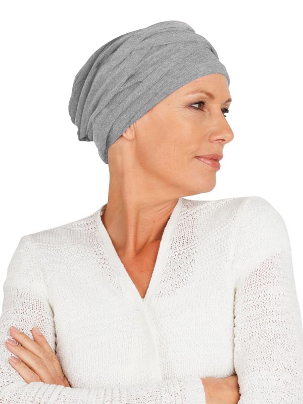 Top PLUS lichtgrijs melee - kankermutsje / alopecia mutsje