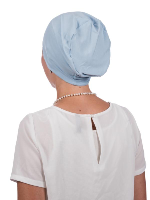 Top Tio lichtblauw - chemo muts/ alopecia headwear